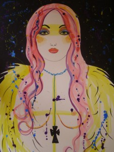 Young Woman with Pink Hair & Black Cross by Suzzanne Bennett